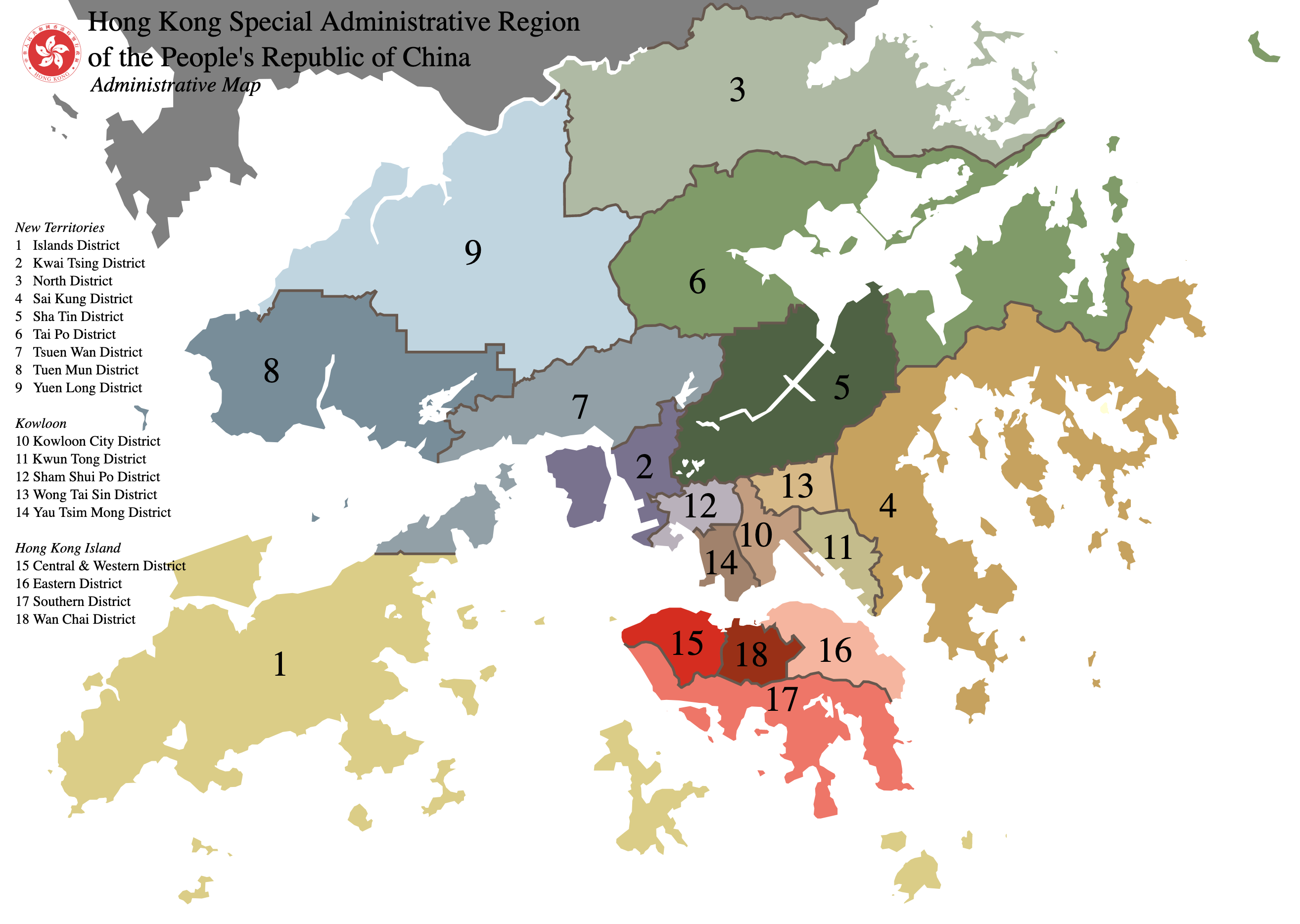 Hong Kong Districts Service Coverage Area